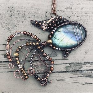 Labradorite fish wire wrapped pendant necklace